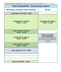 Schedule Side Programme 'Utrecht Zingt'